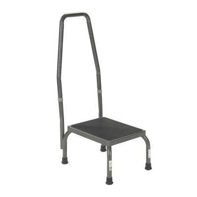 Footstool with Non Skid Rubber Platform and Handrail