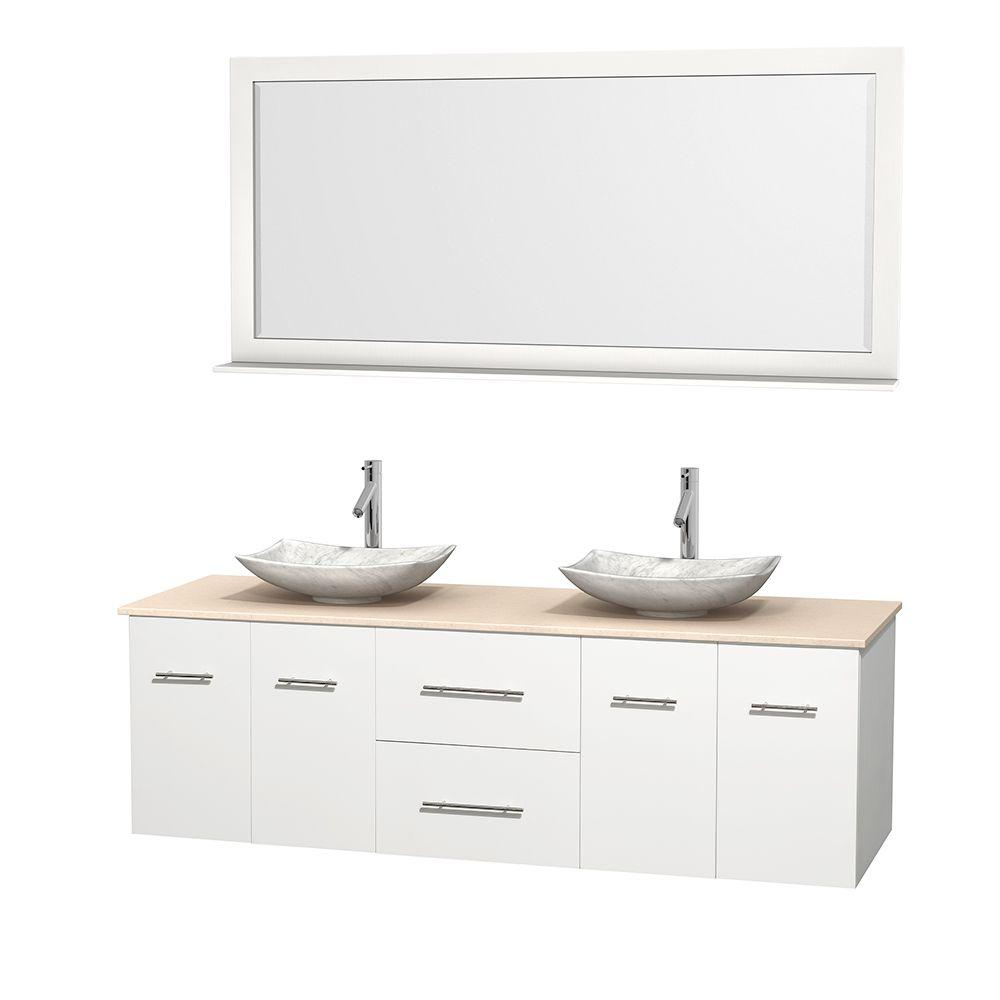 Wyndham Collection Centra 72 in. Double Vanity in White with Marble Vanity Top in Ivory, Carrara White Marble Sinks and 70 in. Mirror