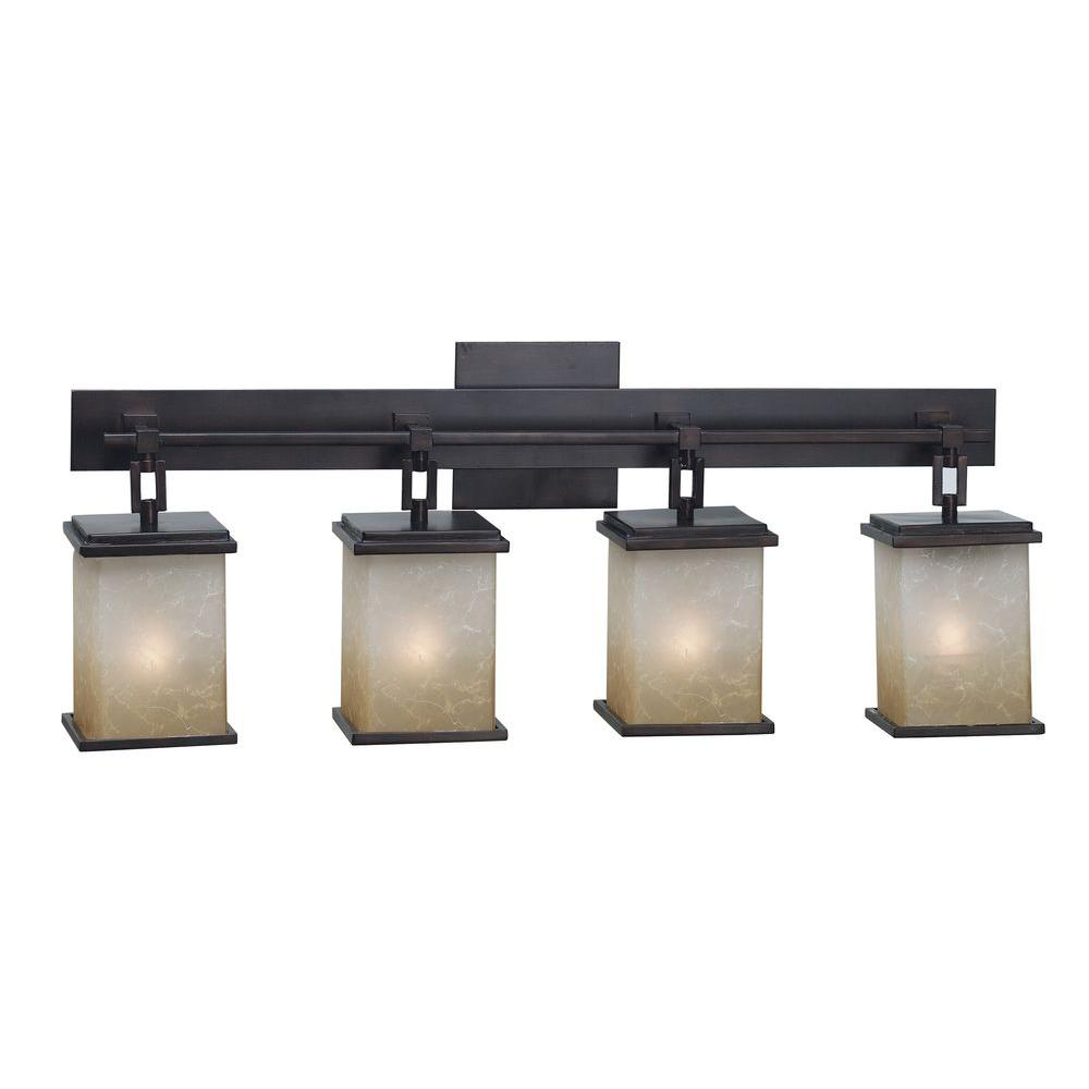 Kenroy home plateau 4 light oil rubbed bronze vanity light for 6 light bathroom vanity light