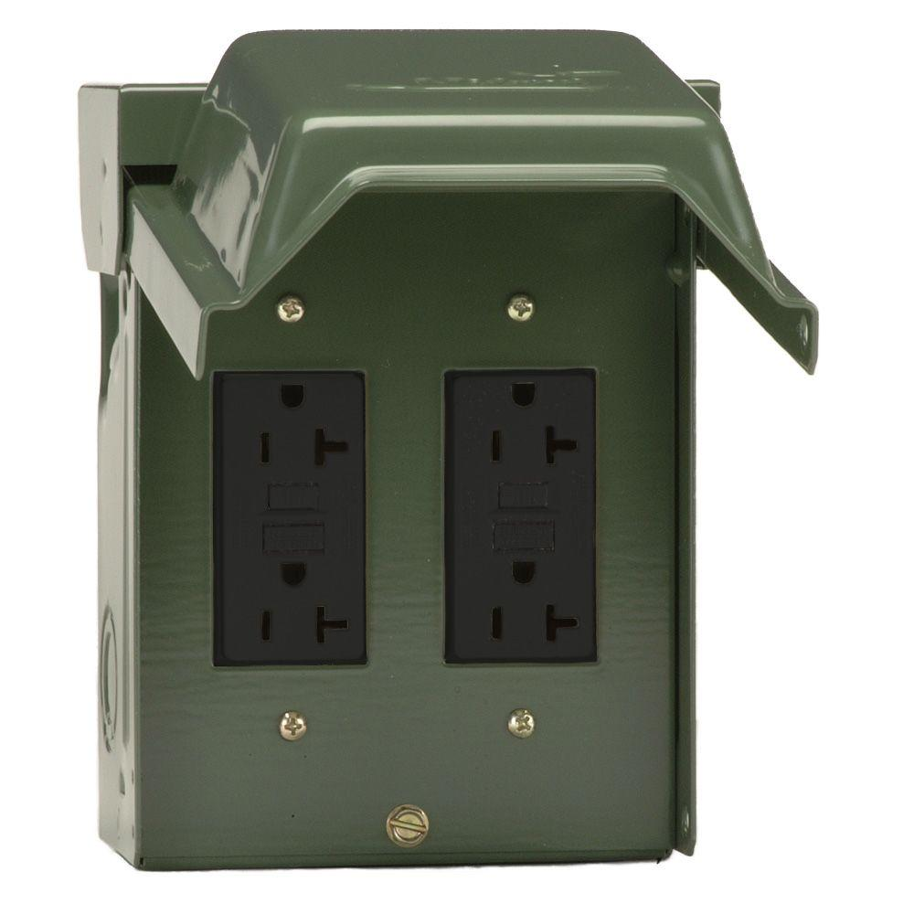 ge 2 20 amp backyard outlet with gfci receptacles u012010grp the home depot. Black Bedroom Furniture Sets. Home Design Ideas