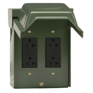 dark green ge weatherproof boxes u012010grp 64_300 ge 20 amp backyard outlet with gfi receptacle u010010grp the home
