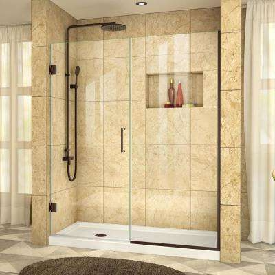 Unidoor Plus 56-1/2 in. to 57 in. x 72 in. Frameless Pivot Shower Door in Oil Rubbed Bronze