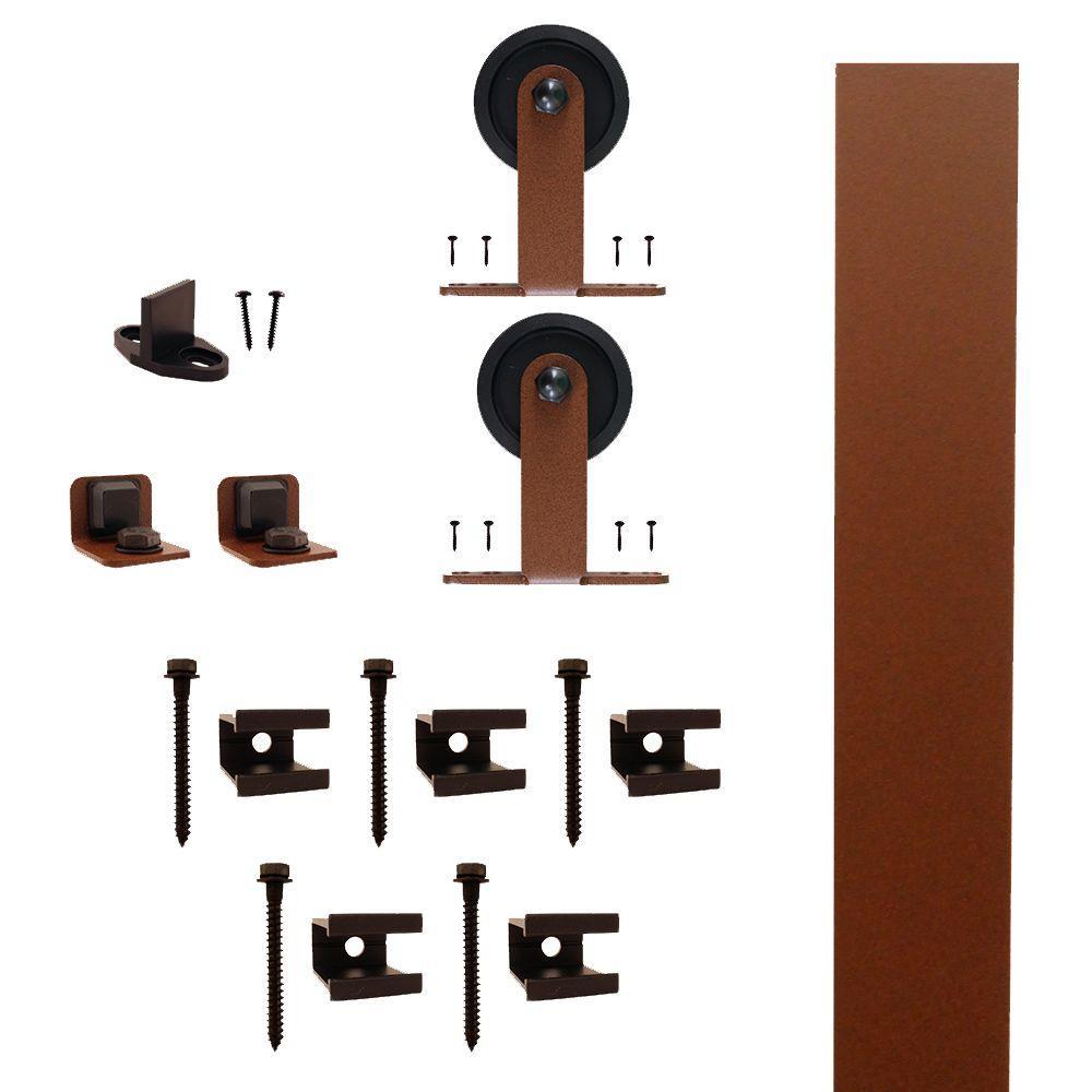 Quiet Glide Top Mount New Age Rust Rolling Barn Door Hardware Kit