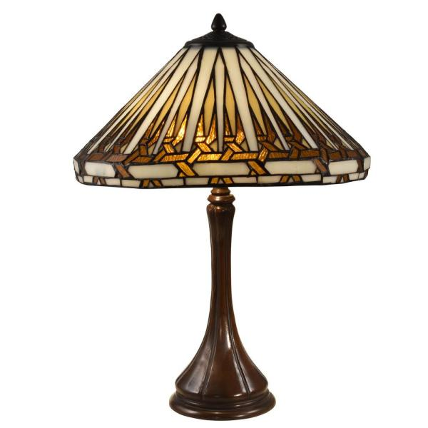 22 in. Antique Bronze Table Lamp with Hand Rolled Art Glass
