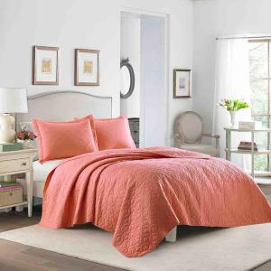 Deals on Laura Ashley 2-Piece Coral Solid Cotton Twin Quilt Set