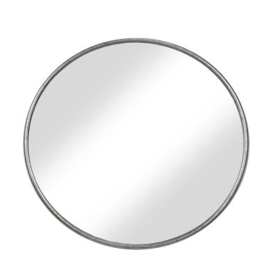 Small Round Silver Modern Mirror (1 in. H x 36 in. W)