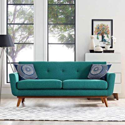 Engage Teal Upholstered Fabric Loveseat