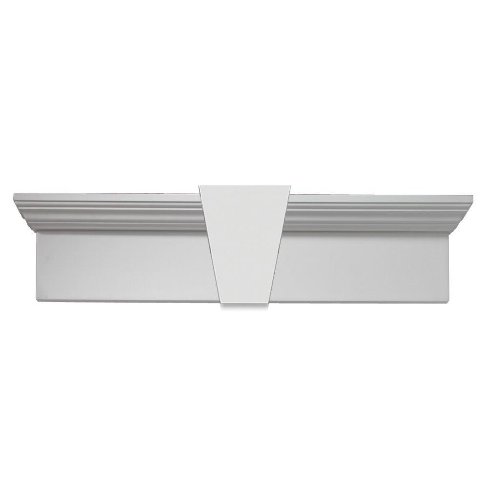 Fypon 40 in. x 11 in. x 6 in. Polyurethane Window and Door Crosshead with Keystone