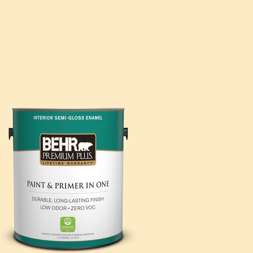 BEHR Premium Plus 1-gal. #P260-2 Yogurt Semi-Gloss Enamel Interior Paint