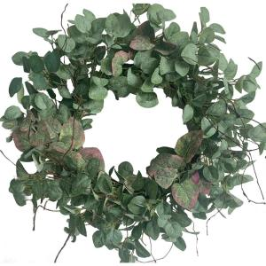 24 in.  Green Unlit Seasonal Artificial Christmas Wreath with Eucalyptus