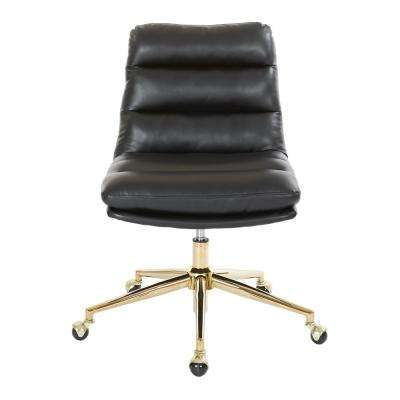 Legacy Office Chair in Deluxe Black Faux Leather with Gold Finish Base