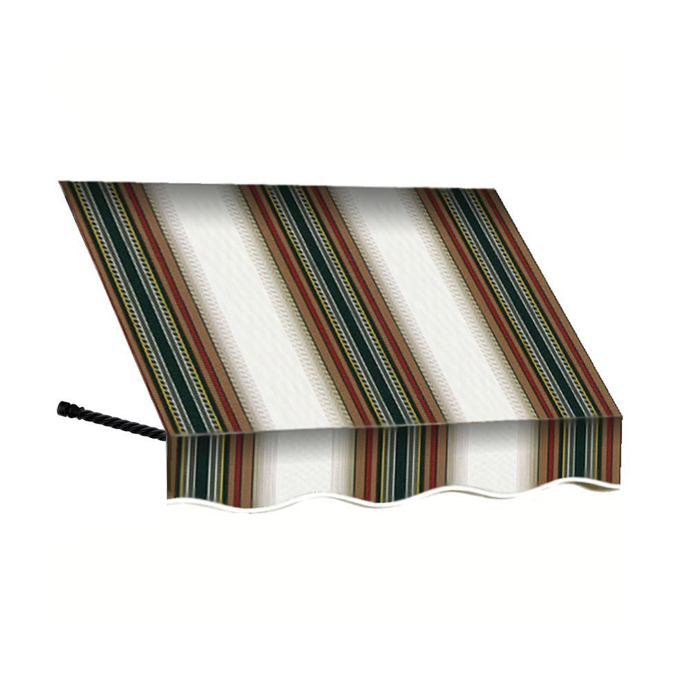 AWNTECH 10 ft. Santa Fe Window Awning (31 in. H x 24 in. D) in Burgundy/Forest/Tan Stripe