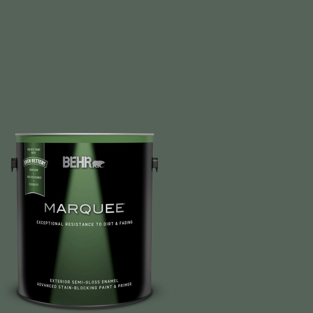 Behr Marquee 1 Gal Ppf 45 Woodland Moss Semi Gloss Enamel Exterior Paint And Primer In One 545301 The Home Depot