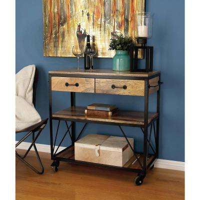 34 in. x 38 in. Rustic Iron and Wood Serving Cart