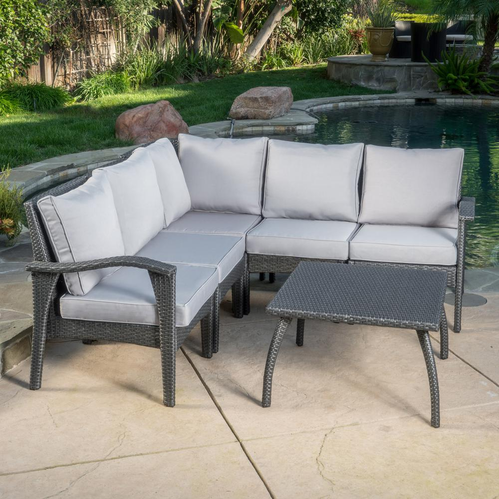 Noble House Gray 5 Piece Wicker Outdoor Sectional And Table Set With