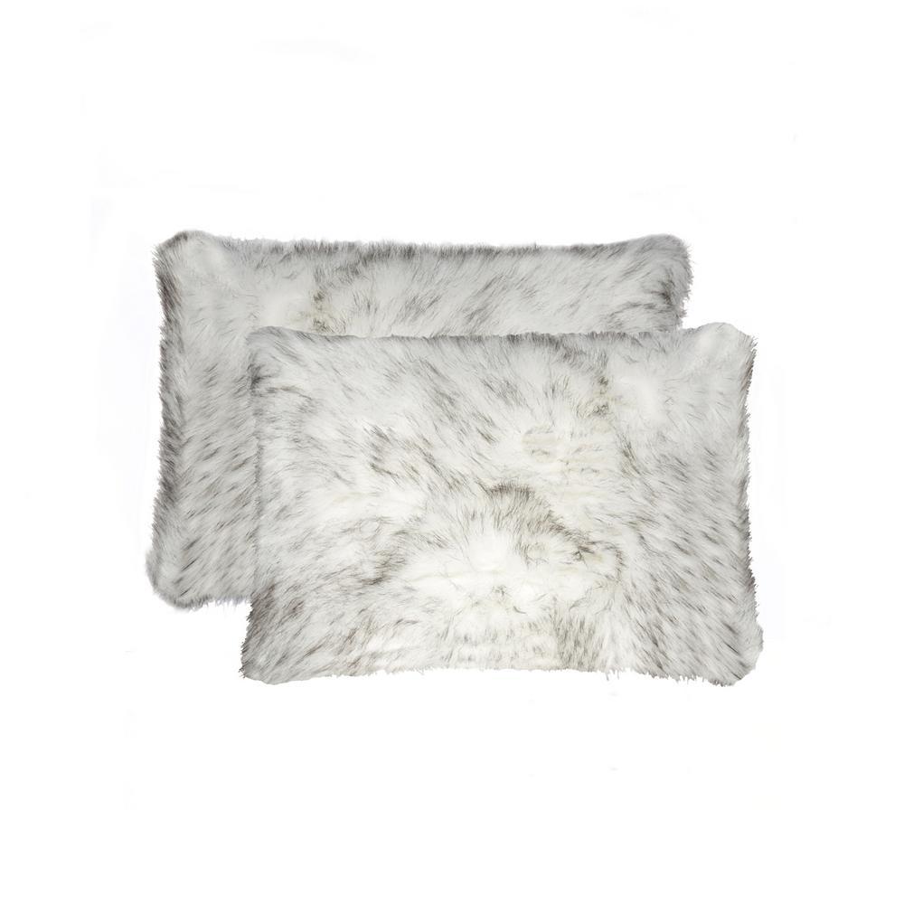 Belton Gradient Gray 12 in. x 20 in. Faux Sheepskin Decorative Pillow (Set of 2)