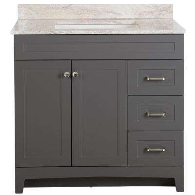 Thornbriar 37 in. W x 39 in. H Bathroom Vanity in Cement with Stone Effects Vanity Top in Winter Mist with White Sink