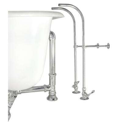 Rigid Freestanding Supply Line in Satin Nickel with Plain Porcelain Lever Handles