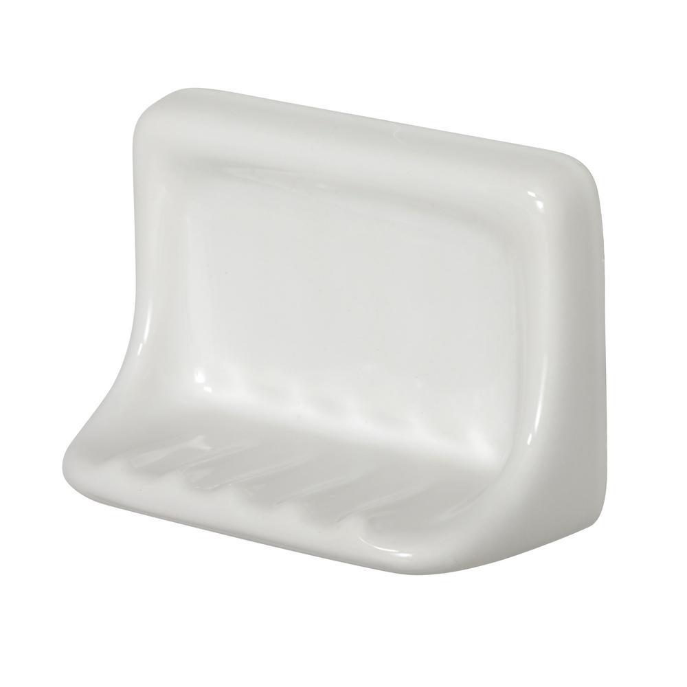 Daltile Restore 6 in. x 3 in. x 4 in. Glazed Ceramic Soap Dish in Bright White
