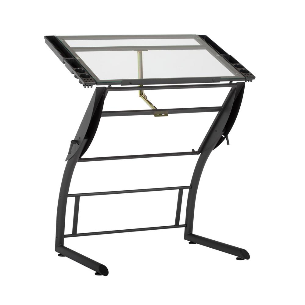 Phenomenal Studio Designs Triflex 40 75 In W Metal And Glass Craft Art Drafting Table With Adjustable Height And Tilt Sit To Stand Desk Black Download Free Architecture Designs Lukepmadebymaigaardcom