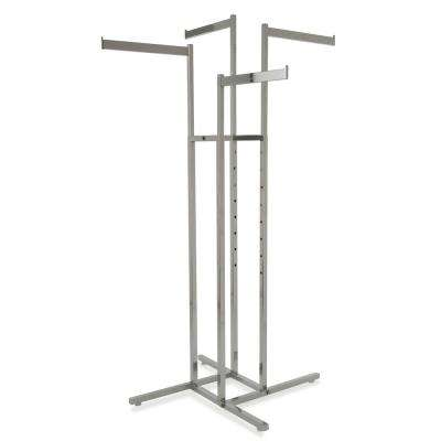 32 in. W x 72 in. H 4-Way Adjustable Height Chrome Garment Rack with 2-Straight Arms