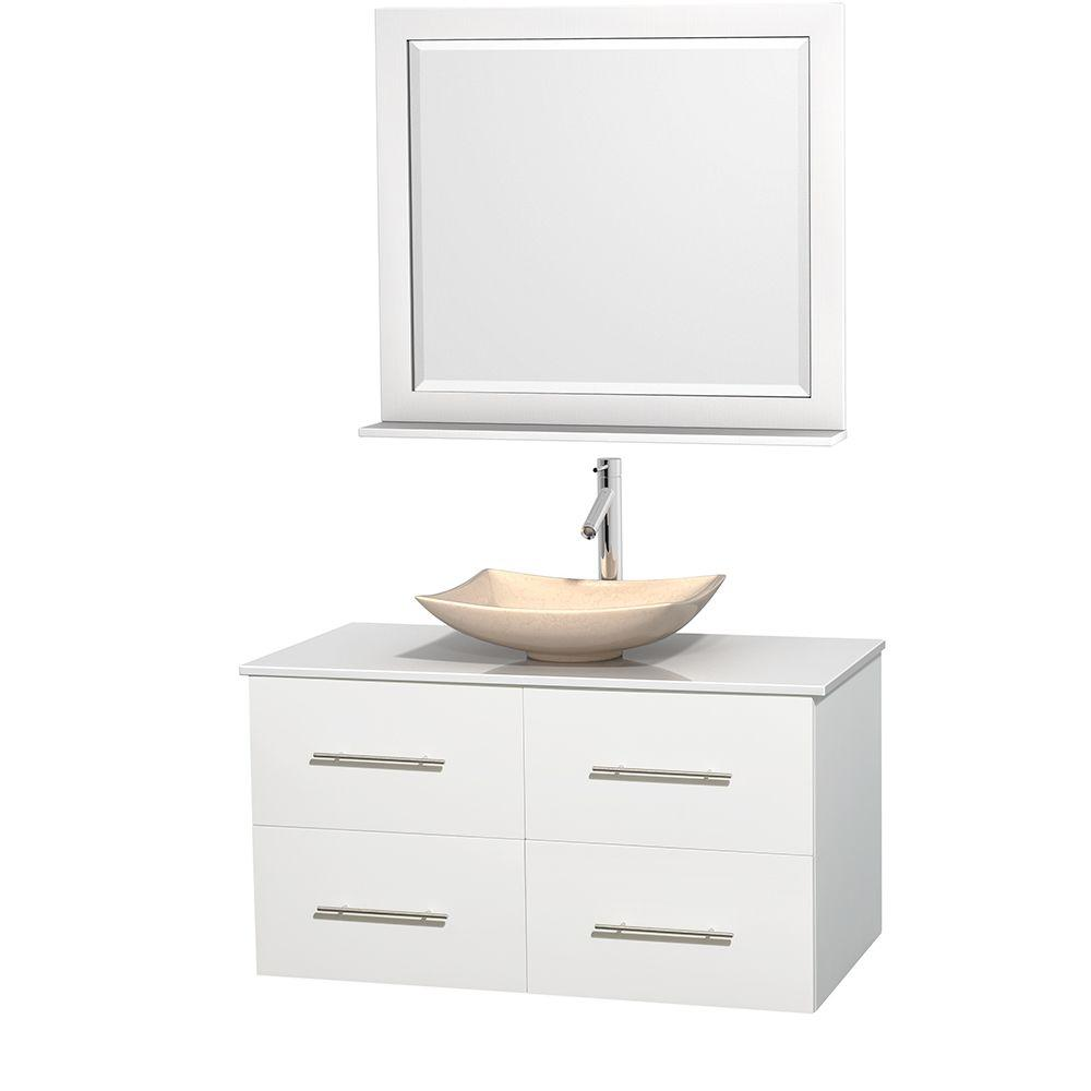 Centra 42 in. Vanity in White with Solid-Surface Vanity Top in