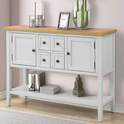 White Charlotte Sideboard Console Table with 4-Storage Drawers and Bottom Shelf