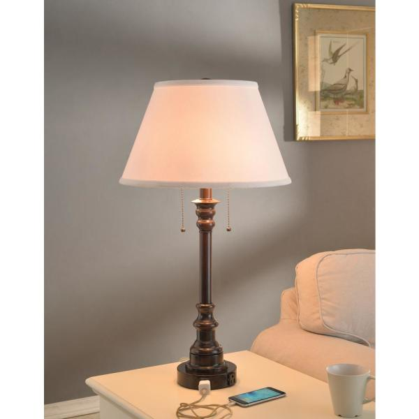 Kenroy Home Spyglass 30 In Oil Rubbed Bronze Hospitality Table Lamp With White Fabric Shade 30437brz Oor The Home Depot