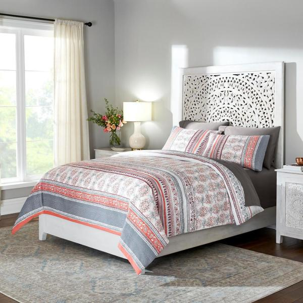 Home Decorators Collection Remora 3-Piece Punch Stripe King Duvet Cover Set