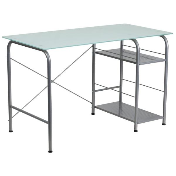 Flash Furniture Silk White/Silver Computer Desk CGA-NAN-22611-SI-HD
