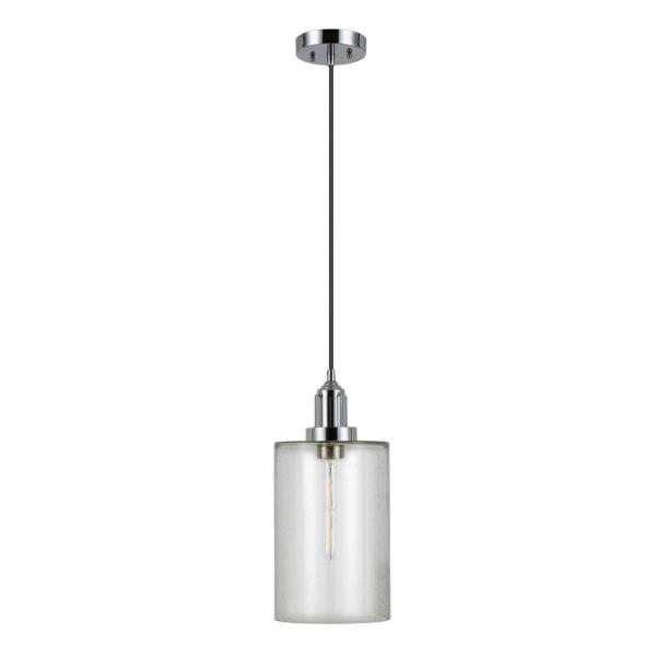 Nora 1- Light Nickel Pendant with Seeded Glass