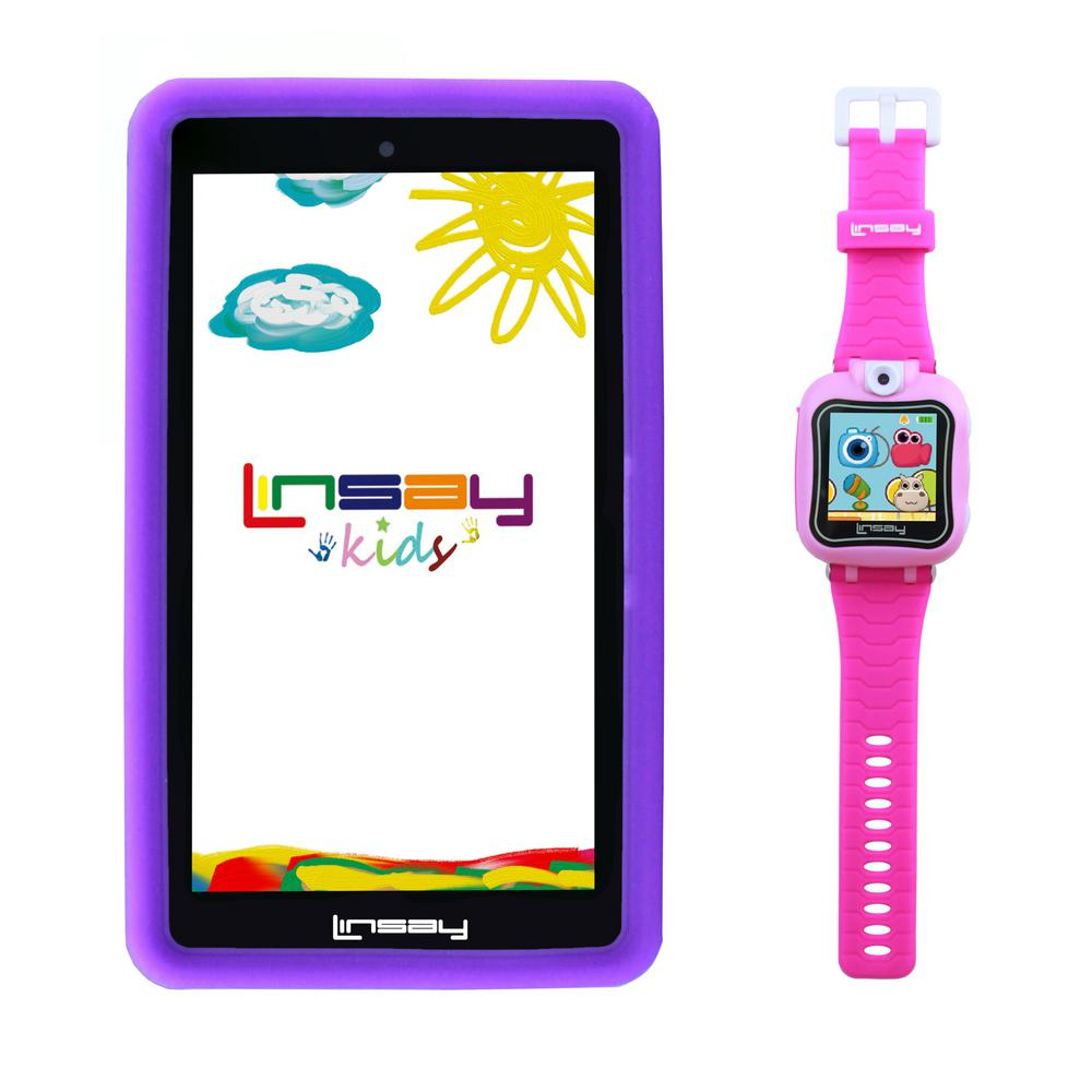 LINSAY 7 in. Kids Funny Tablet Purple Android 9.0 with 1.5 Kids Smart Watch Cam Selfie Pink was $199.99 now $79.99 (60.0% off)