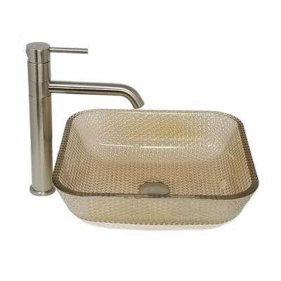 Black Nickel Cubix Vessel Sink with Swivel Vessel Filler and Drain Combo Set in Brushed Nickel