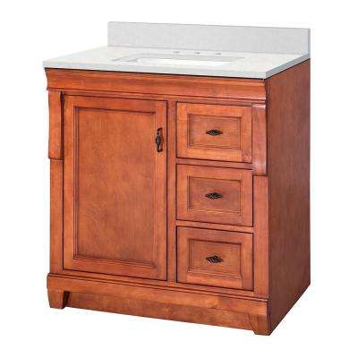 Naples 31 in. W x 22 in. D Vanity Cabinet in Warm Cinnamon with  Marble Vanity Top in Snowstorm with White Basin