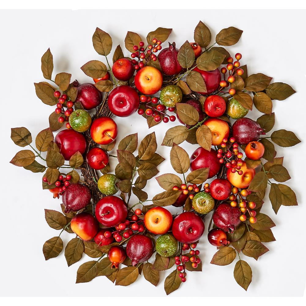 24 in. Mixed Apple Pomegranate and Leaf Wreath on Natural Twig Base