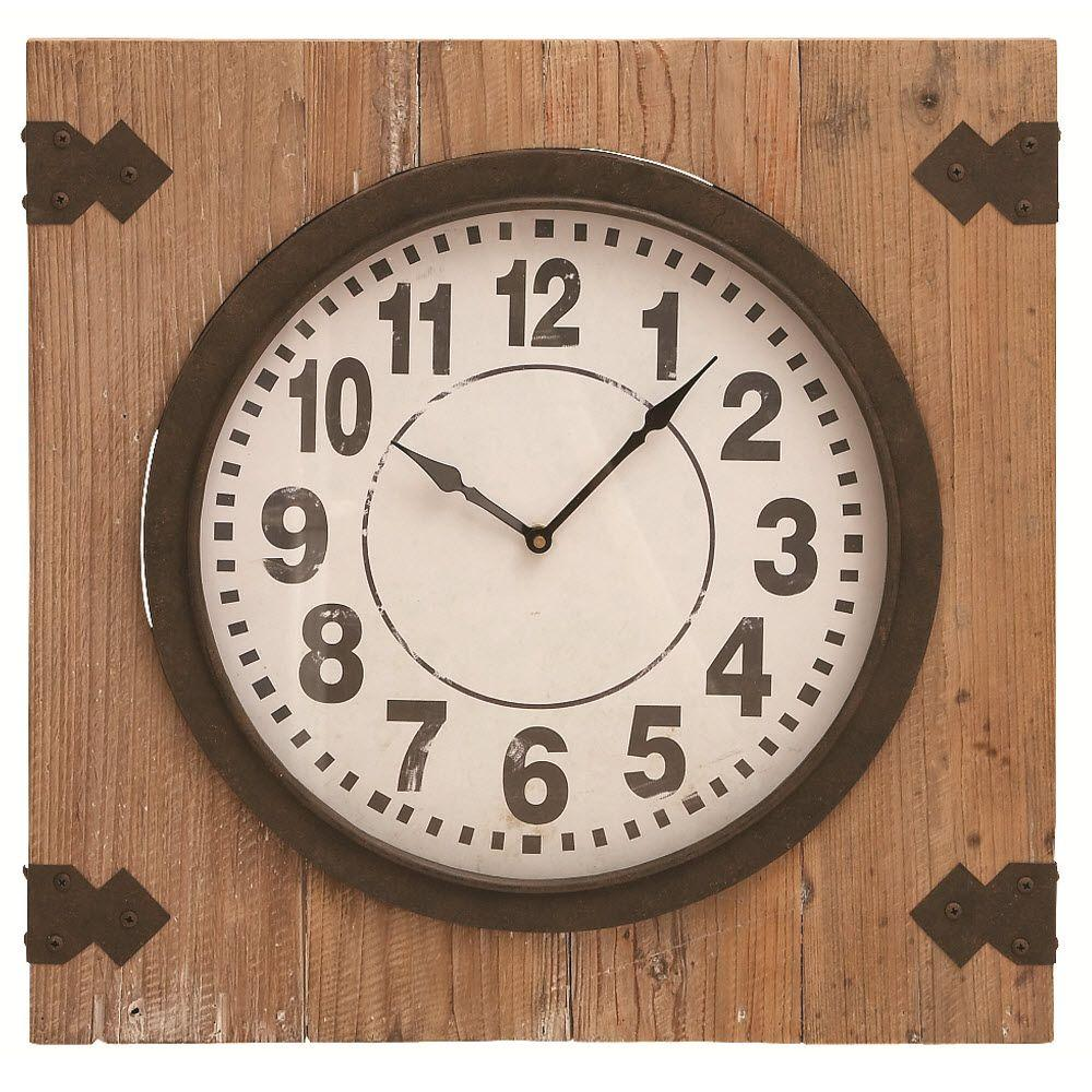 Home Decorators Collection 20 in. x 20 in. Charles Brown Wood Wall Clock