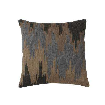 Embroidered Decorative Pillow Cover in Natural Ikat, 18 in. x 18 in.