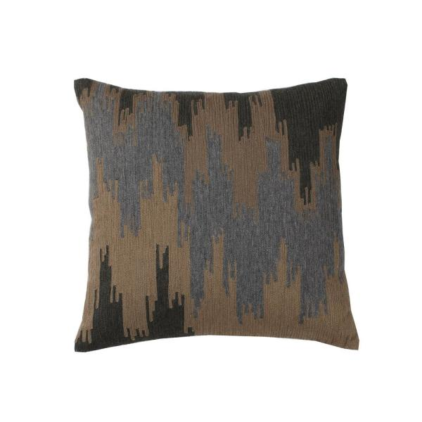 Embroidered Natural Ikat 18 in. x 18 in. Decorative Throw Pillow Cover