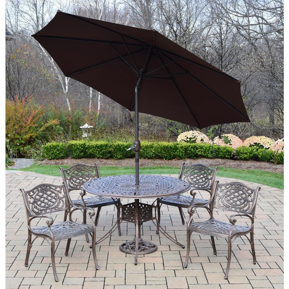 7-Piece Aluminum Outdoor Dining Set and Brown Umbrella