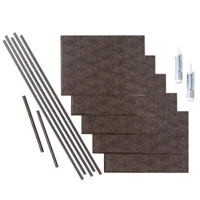 Hammered 18 in. x 24 in. Smoked Pewter Vinyl Decorative Wall Tile Backsplash 15 sq. ft. Kit