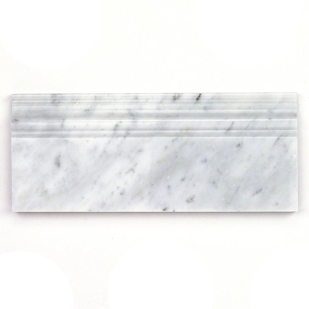 Ivy Hill Tile White Carrera 4 75 in  x 12 in  x 12 mm Marble Base Molding  Mosaic Floor and Wall Tile