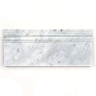 White Carrera 4.75 in. x 12 in. x 12 mm Marble Base Molding Mosaic Floor and Wall Tile