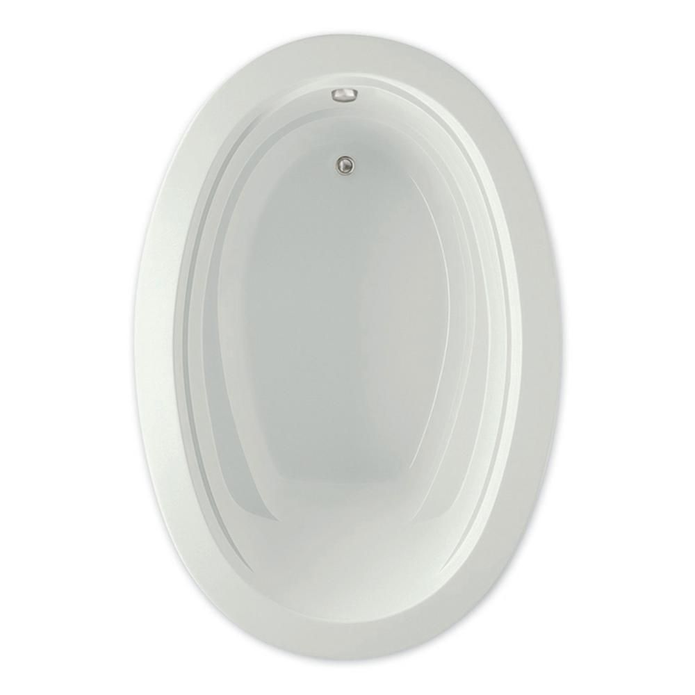 Belmont II 72 in.Acrylic Reversible Drain Oval Drop-In Soaking Bathtub in Biscuit