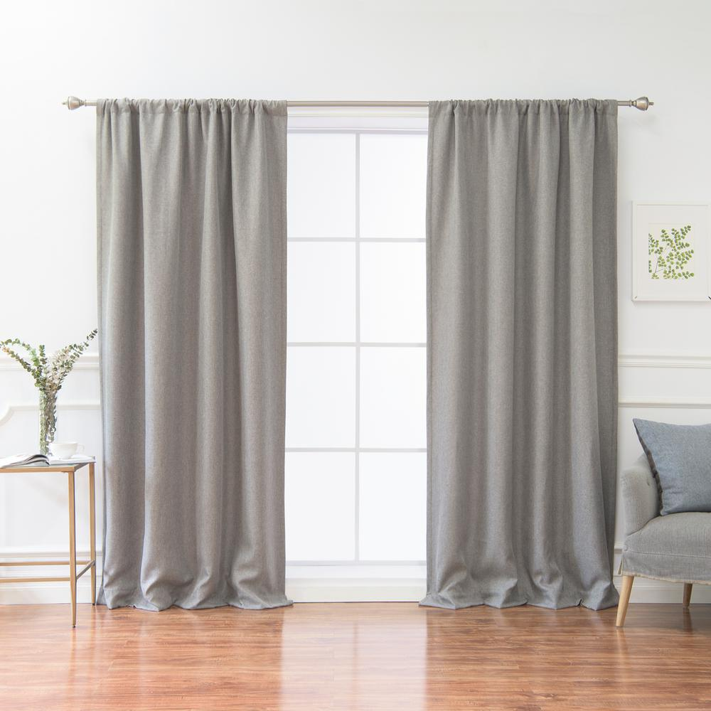 L Polyester Faux Linen Room Darkening Curtains In Grey