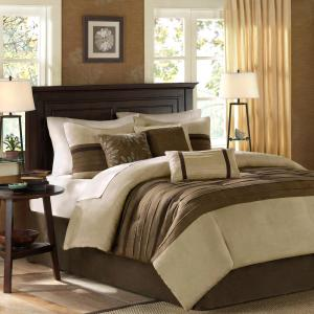Teagan 7-Piece Natural California King Pieced Comforter Set