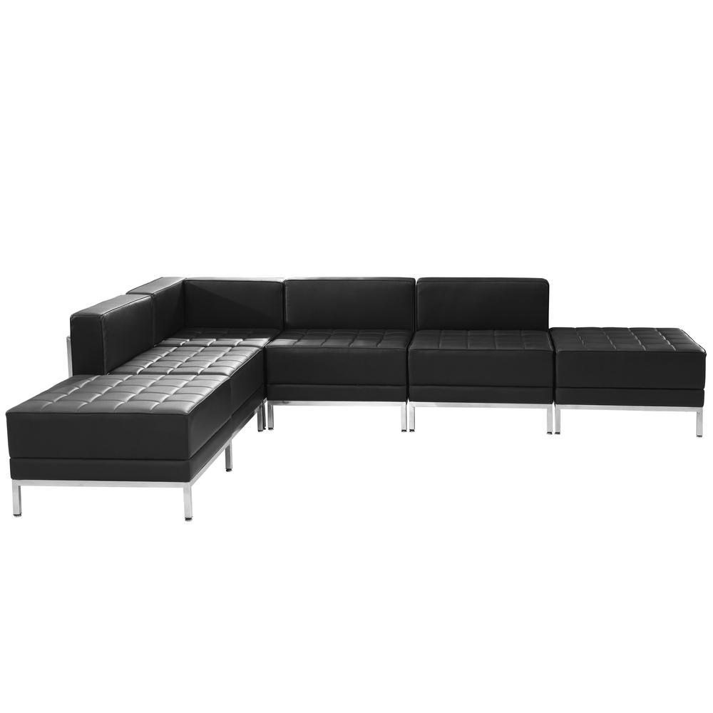 Hercules Imagination Series 6-Pieces Black Leather Sectional Configuration