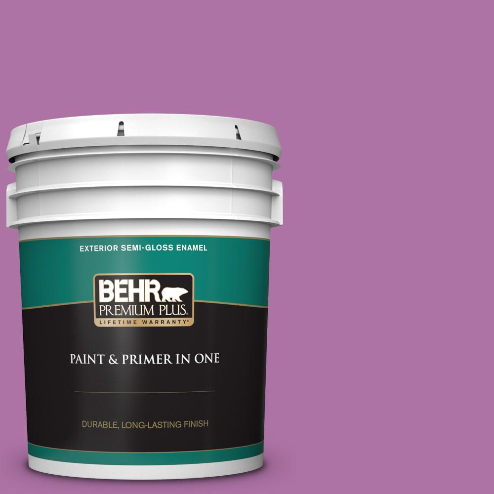 Behr Premium Plus 5 Gal 670b 6 Orchid Kiss Semi Gloss Enamel Exterior Paint And Primer In One 534005 The Home Depot