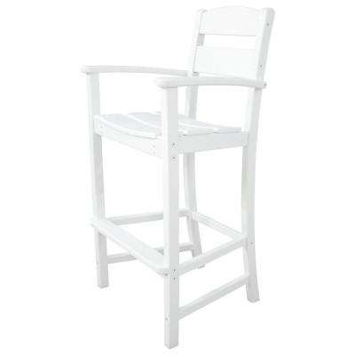 Classics White Plastic Outdoor Patio Bar Arm Chair