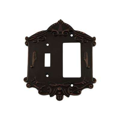 Victorian Switch Plate with Toggle and Rocker in Timeless Bronze