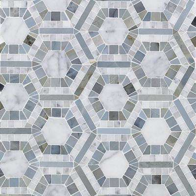 Kosmos Carrera and Moonstone Hexagon 11-3/4 in. x 11-3/4 in. x 10 mm Polished Marble Mosaic Tile
